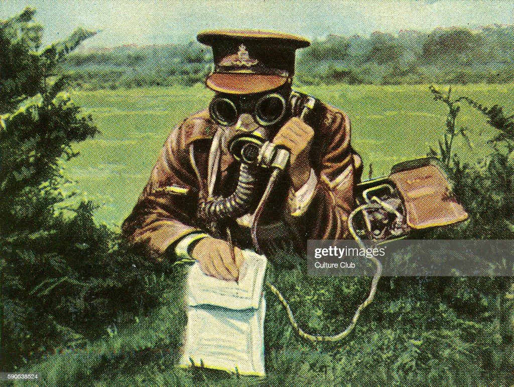 British military telephonist with gas mask during transmission to HQ Cigarette cards published in Germany c1934 reviewing military equipment in arms...