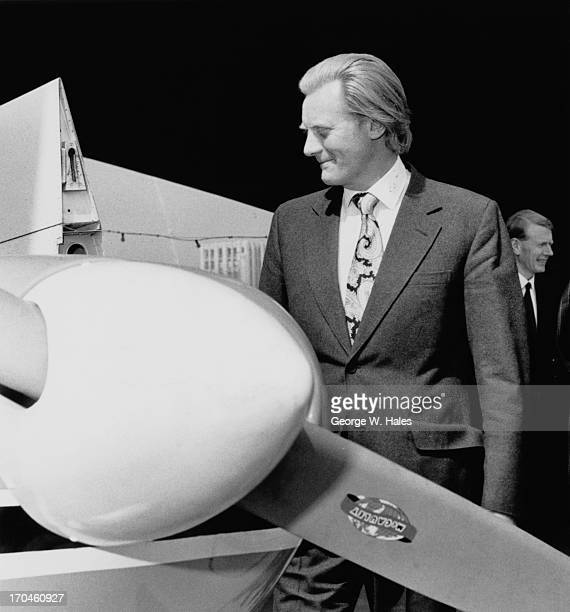 British Minister for Aerospace Michael Heseltine at the Plane Show aviation fair on the South Bank London 18th May 1973