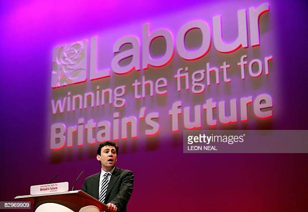 British Minister for Culture Media and Sport Andy Burnham addresses delegates in the Manchester Central venue at the 2008 Labour Party Conference in...