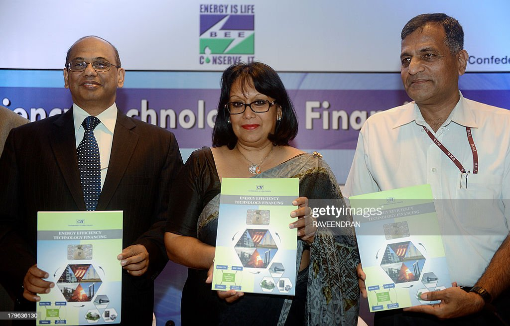 British Minister for Energy and Climate Change, Baroness Verma (C), Additional Secretary, Ministry of Power, Government of India, Ashol Lavasa (R) and Director General, Bureau of Energy Efficiency (BEE), Ajay Mathur pose during the release of a report on Energy Efficience Technology during the Energy Efficiency Technology and Financing Conference in New Delhi on September 6, 2013. The Confederation of Indian Industry (CII) Bureau of Energy Efficiency (BEE) and the British High Commission organized the conference. AFP PHOTO