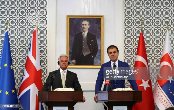 British minister of state for Europe and Americas Alan Duncan and Turkish Minister for European Union Affairs Omer Celik hold a joint press...