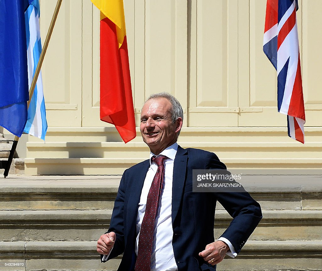 British Minister of State for Europe David Lidington leaves after a meeting in Warsaw, Poland on June 27, 2016. / AFP / JANEK