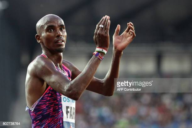 British Mo Farah reacts during the IAAF World Challenge Zlata Tretra athletics tournament in Ostrava Czech Republic on June 28 2017 / AFP PHOTO /...