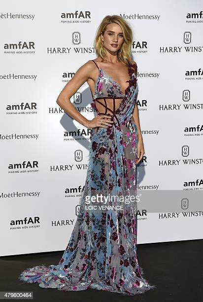 British model and actress Rosie HuntingtonWhiteley poses prior to take part in the Amfar dinner on the sidelines of the Paris fashion week on July 5...
