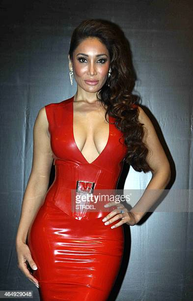 British model and actress Sofia Hayat poses during a promotional event for the forthcoming Hindi film Six X in Mumbai late March 1 2015 AFP PHOTO/STR