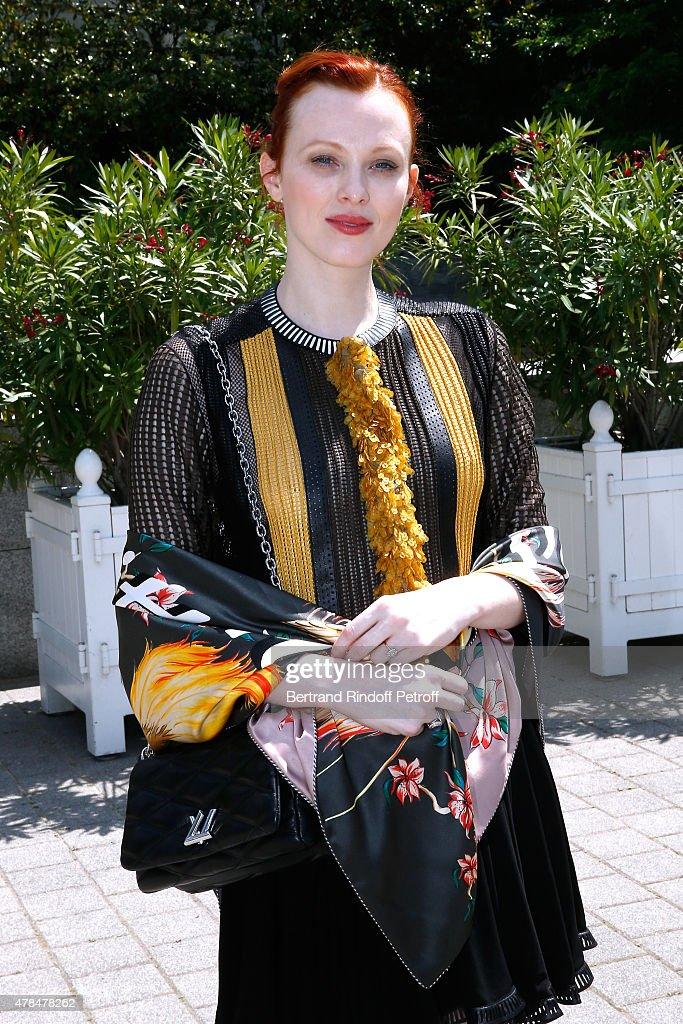 British Model ans Singer, Karen Elson attends the Louis Vuitton Menswear Spring/Summer 2016 show as part of Paris Fashion Week on June 25, 2015 in Paris, France.