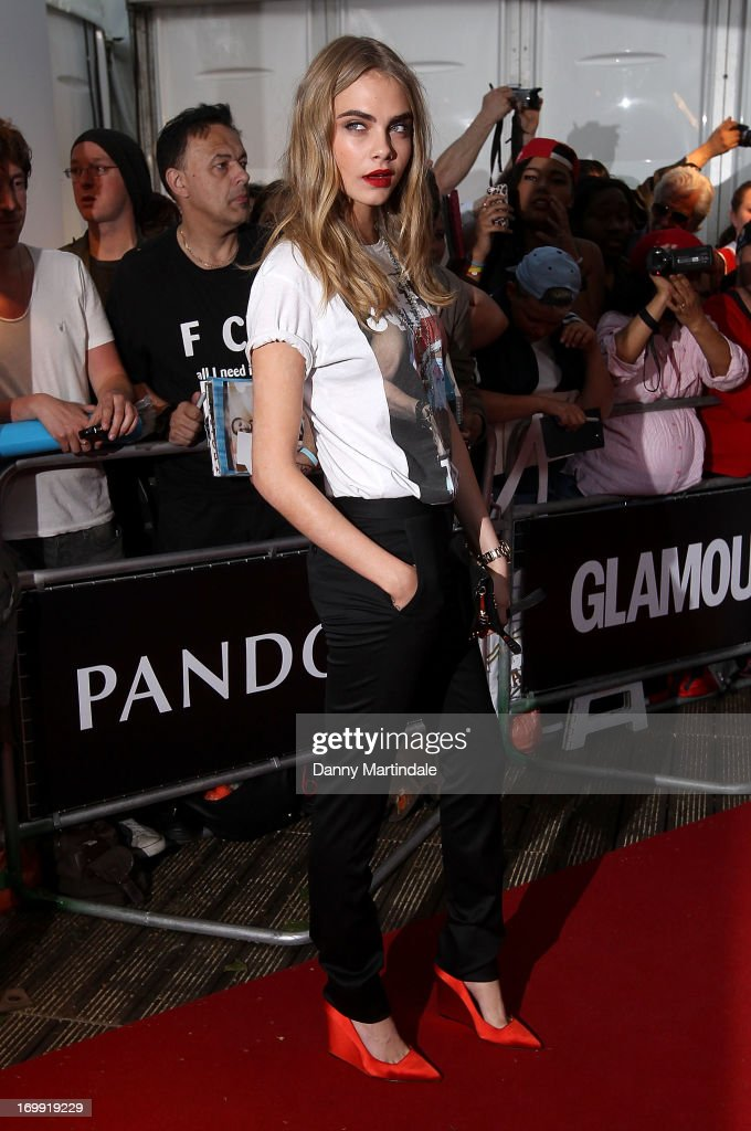 British model <a gi-track='captionPersonalityLinkClicked' href=/galleries/search?phrase=Cara+Delevingne&family=editorial&specificpeople=5488432 ng-click='$event.stopPropagation()'>Cara Delevingne</a> attends Glamour Women of the Year Awards 2013 at Berkeley Square Gardens on June 4, 2013 in London, England.