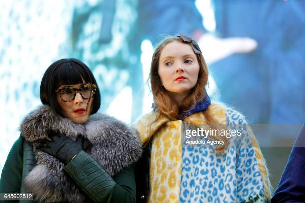 British model Lily Cole and Swiss model Noomi Rapace attend the free screening and UK premier of Iranian film The Salesman in Trafalgar Square on...
