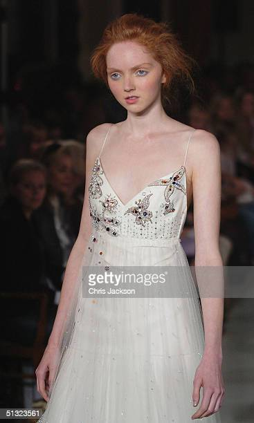 British model Lily Cole walks down the runway at the Elspeth Gibson fashion show as part of London Fashion Week Spring/Summer 2005 at Kent House on...