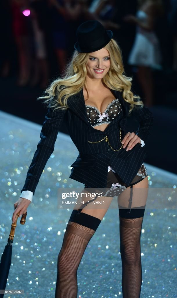 British model Lily Donaldson performs during the 2013 Victoria's Secret Fashion Show at the Lexington Avenue Armory on November 13, 2013 in New York. AFP PHOTO/Emmanuel Dunand