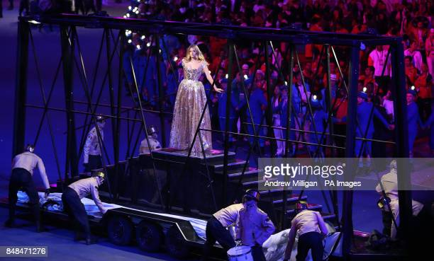 British model Lily Donaldson performs during the Closing Ceremony of the London 2012 London Olympics at the Olympic Stadium