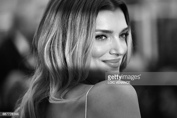 British model Lily Donaldson poses as she arrives on May 18 2017 for the screening of the film 'Loveless' at the 70th edition of the Cannes Film...