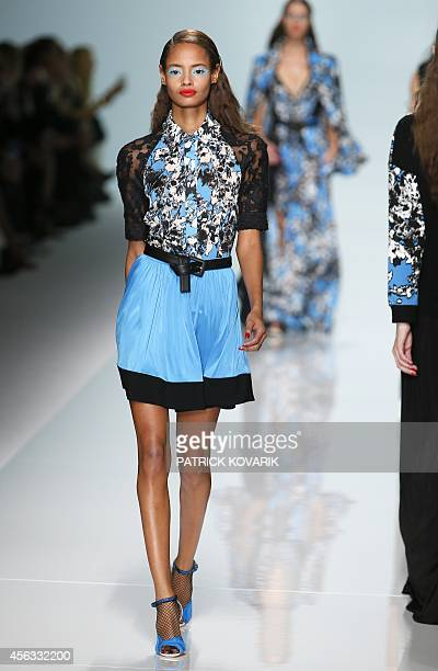 British model Malaika Firth presents a creation for Emanuel Ungaro during the 2015 Spring/Summer readytowear collection fashion show on September 29...