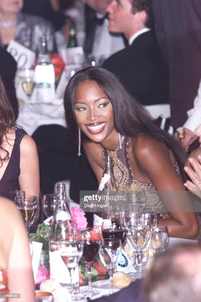 British model <a gi-track='captionPersonalityLinkClicked' href=/galleries/search?phrase=Naomi+Campbell&family=editorial&specificpeople=171722 ng-click='$event.stopPropagation()'>Naomi Campbell</a> attends the AMFAR dinner in support of various AIDS charities on April 10, 2001 in Cannes, France.