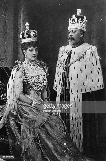 British monarchs Queen Alexandra and King Edward VII who married in 1863 at their coronation in London