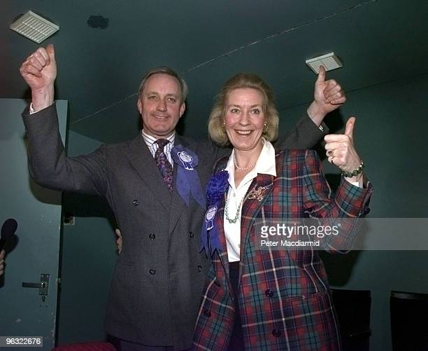 British MP Neil Hamilton and his wife Christine celebrate his victory at the selection meeting in Chelford Cheshire for the upcoming election 8th...