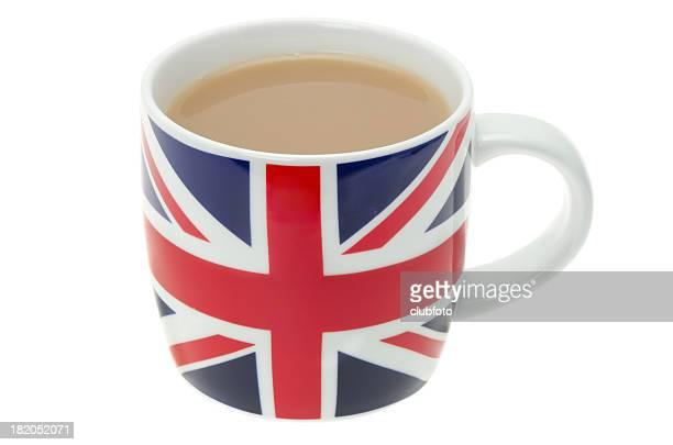 British mug full of hot tea