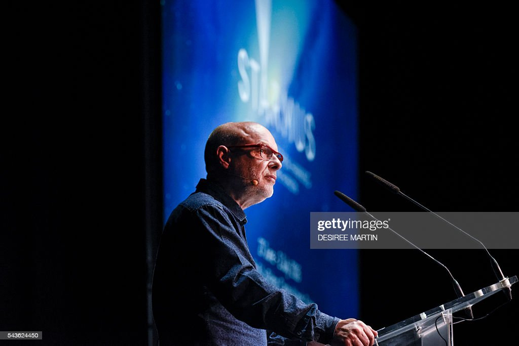 British musician and activist Brian Eno gives a lecture entitled: 'At the Crossroads of Art and Science' during the Starmus Festival on the Spanish Canary island of Tenerife on June 29, 2016 / AFP / DESIREE