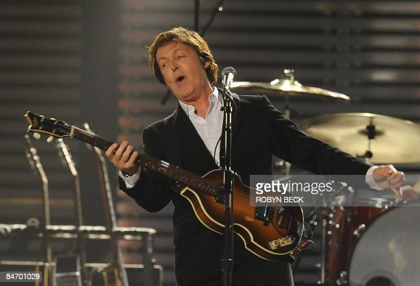 British musician and former Beatle Paul McCartney performs during the 51st annual Grammy awards held at the Staples Center in Los Angeles on February...