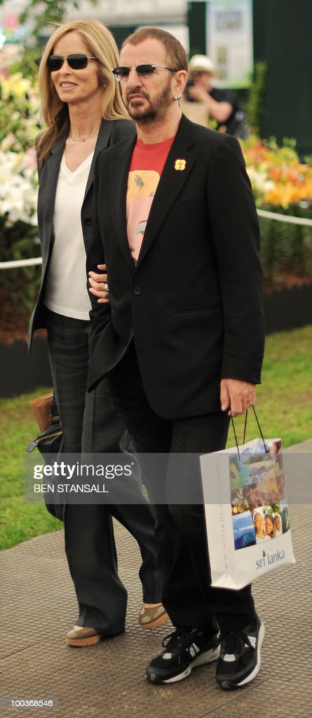 British musician and former Beatle Ringo Starr (R) and wife Barbara Bach, visit the Chelsea Flower Show in London, on May 24, 2010. Garden designers have had to cope with unseasonal frosts up to a week before the event and possibly the warmest day of the year Monday.