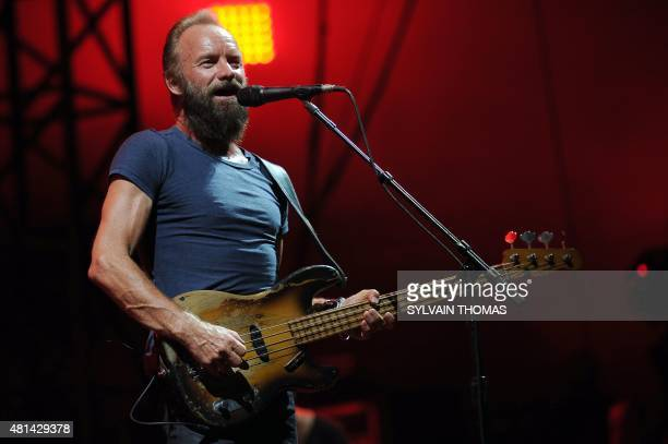 British musician and singersongwriter Sting performs during a concert at the Ampitheatre of Nimes on July 20 2015 in the French southern city of...