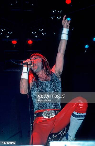 British musician Bruce Dickinson vocalist for the band Iron Maiden performs onstage at the Rosemont Horizon Rosemont Illinois December 21 1984