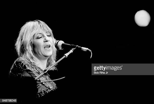 British musician Christine McVie of the group Fleetwood Mac performs onstage at the Los Angeles Forum Inglewood California December 6 1979