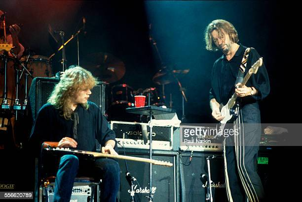 British musician Eric Clapton and Canadian Jeff Healy perform East Troy Wisconsin August 25 1990