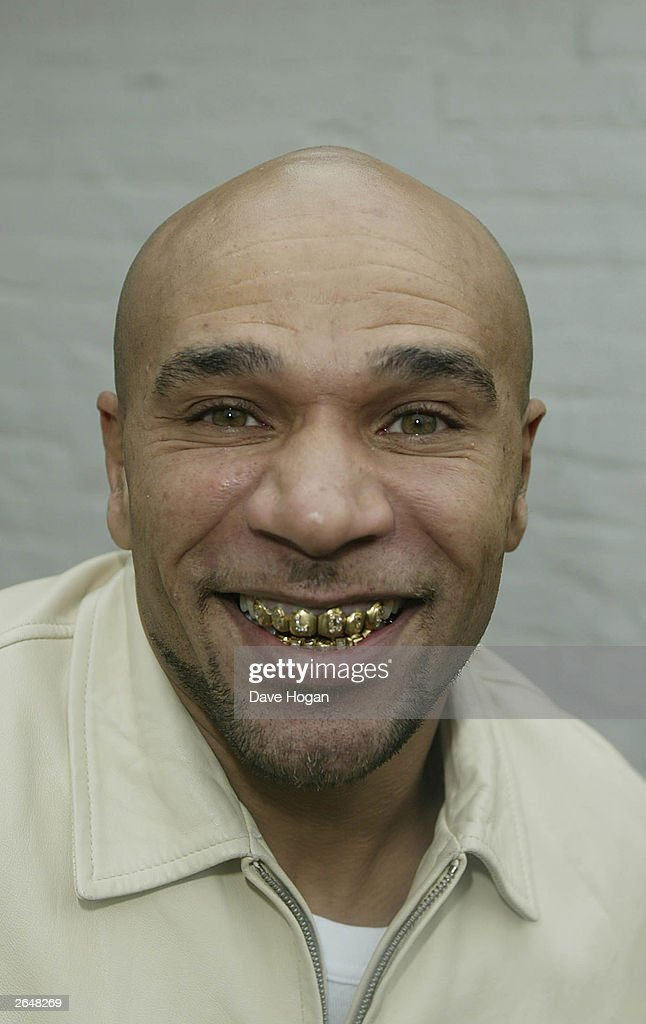 British musician 'Goldie' poses for a promotional shoot after his dismissal from the 'Big Brother House' on November 25, 2002 in London.