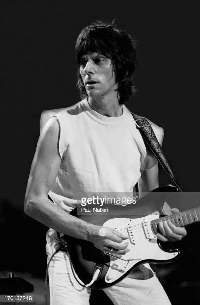 British musician Jeff Beck plays guitar onstage during a performance at the Reunion Center Dallas Texas November 27 1983
