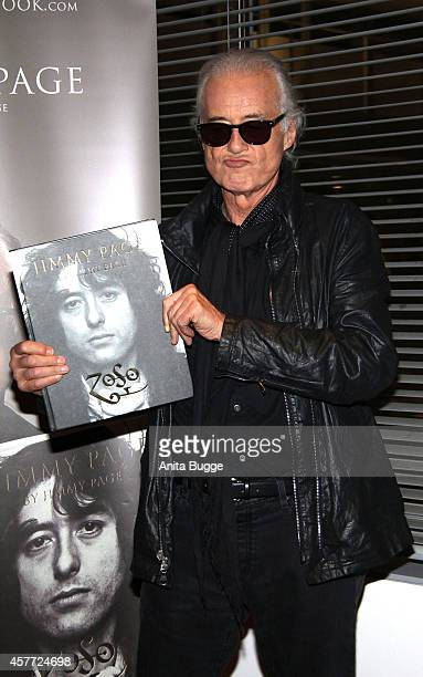 British musician Jimmy Page poses for the press prior to his book presentation at Dussmann bookstore on October 23 2014 in Berlin Germany