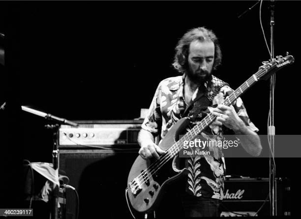 British musician John McVie of the band Fleetwood Mac performs on stage East Troy Wisconsin July 19 1978