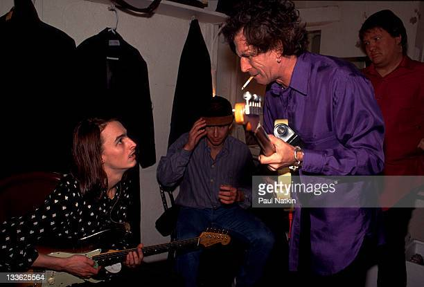 British musician Keith Richards backstage with American musician Mike McCready at the Academy New York New York December 31 1992 American tennis...