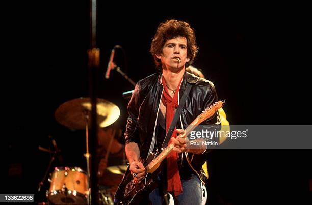 British musician Keith Richards of the band The Rolling Stones performs on stage during a North American tour 1981