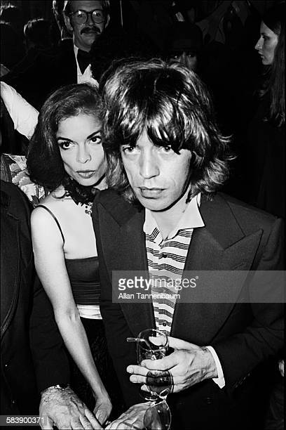 British musician Mick Jagger and his wife Bianca arrive at the Andy Warholhosted reopening party of the Copacabana nightclub New York New York...
