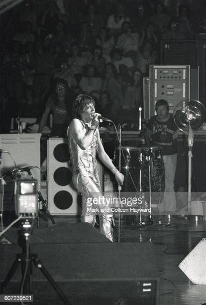British musician Mick Jagger of the group the Rolling Stones performs onstage at Wembley stadium London England 1973