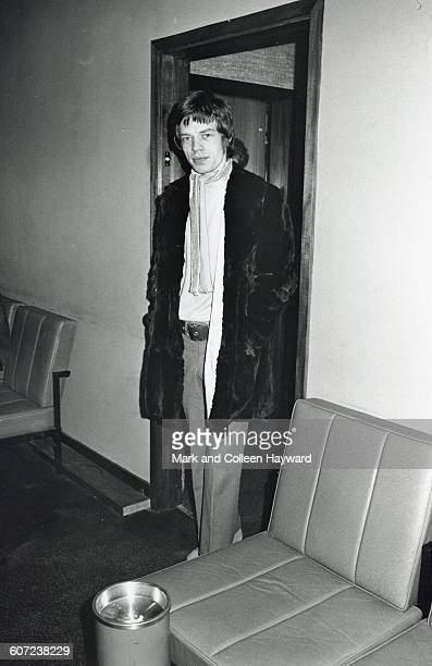 British musician Mick Jagger of the group the Rolling Stones stands in an open doorway New York New York January 15 1967