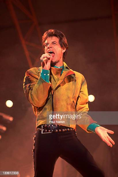 British musician Mick Jagger of the Rolling Stones performs on stage during the band's 'Steel Wheels' tour late 1989