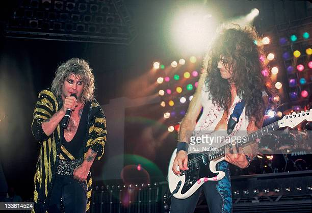 British musician Ozzy Osbourne and American guitarist Jake E Lee perform at the Poplar Creek Music Theater in Hoffman Estates Chicago Illinois July...