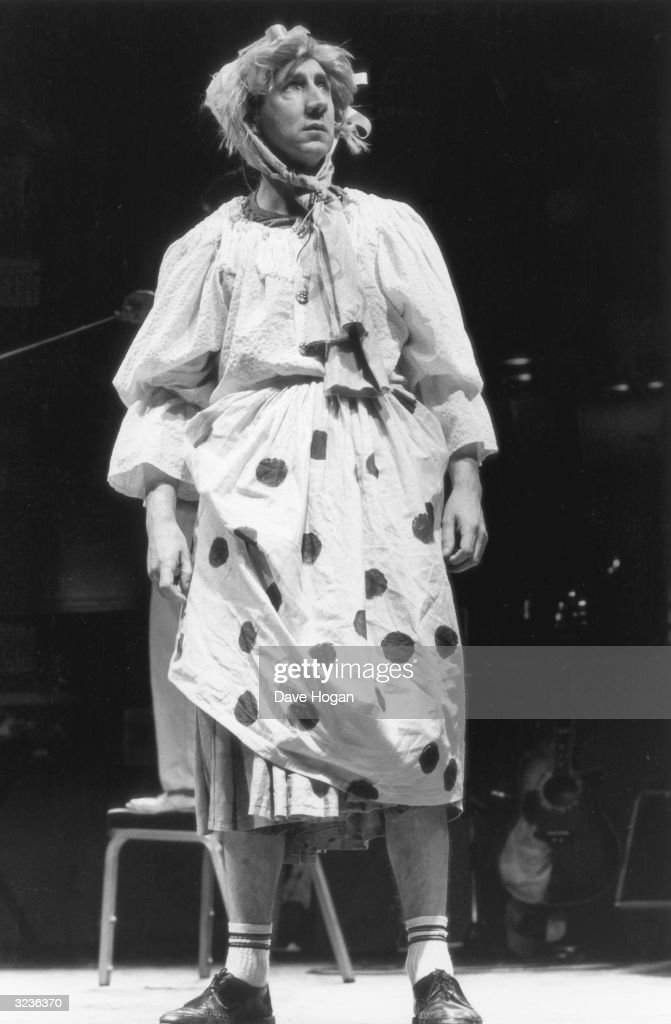 British musician Pete Townshend of the Who dresses in drag for a drugs benefit concert at the Dominion Theatre, 6th January 1986.