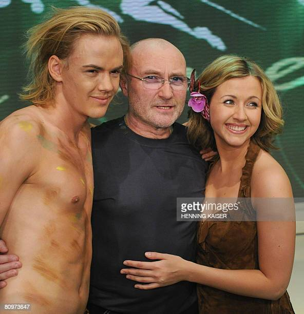 British Musician Phil Collins poses for photographers with Anton Zetterholm and Elisabeth Huebert after the final of a TV casting show in the western...
