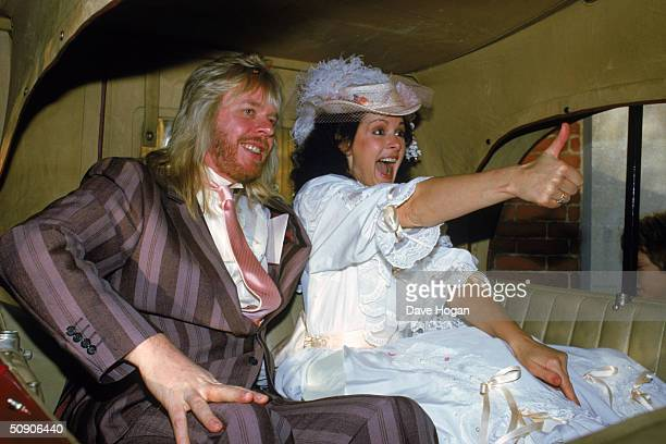 British musician Rick Wakeman formerly of Yes marries exmodel Nina Carter at at Camberley United Reformed Church 1984