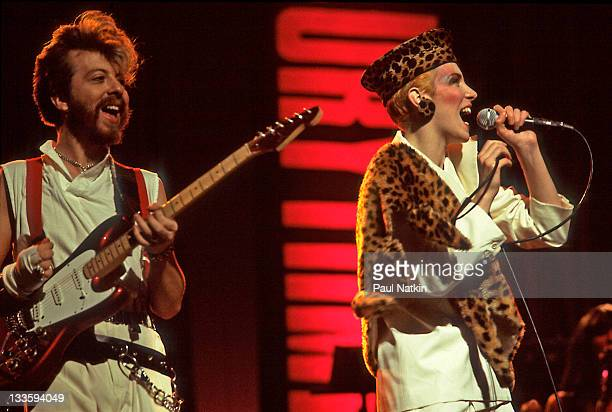 British musicians David A Stewart and Annie Lennox of the Eurthymics perform at the Auditorium Theater Chicago Illinois April 5 1984