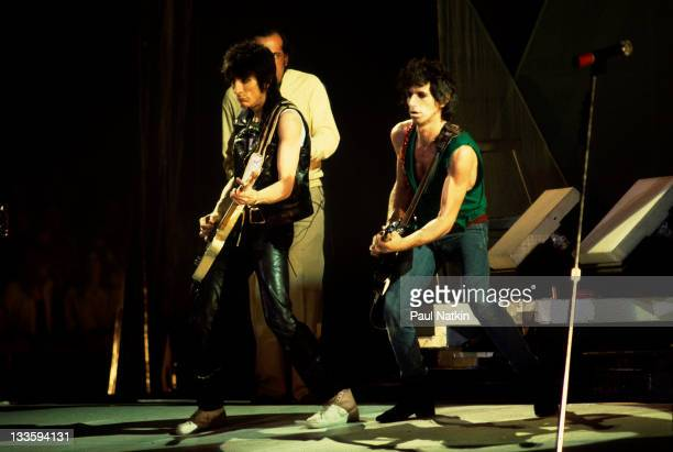 British musicians Ronnie Wood and Keith Richards of the band The Rolling Stones perform on stage during a North American tour 1981