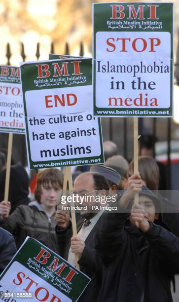 British Muslims hold a protest outside Downing Street demanding equal rights and an end of Islamophobia in the media