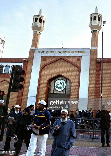 British Muslims leave the East London mosque after AlAser or afternoon prayer December 9 2004 in London England According to UK National Statistics...