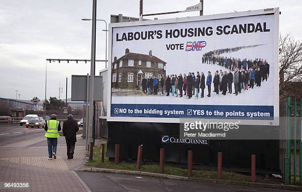 British National Party billboard stands near a main road on February 4 2010 in Dagenham England As the UK gears up for one of the most hotly...