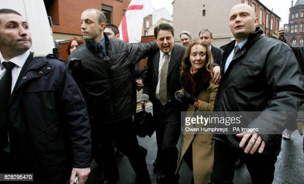 British National Party leader Nick Griffin arrives at Leeds Crown Court Monday January 16 where he is due to go on trial today on racehate charges...