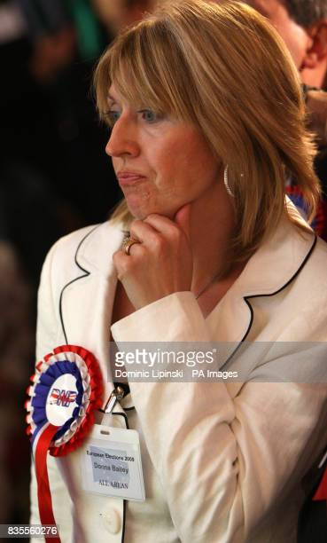 British National Party MEP candidate Donna Bailey watches the results for the European Parliamentary Elections for the south east at Saint Mary's...