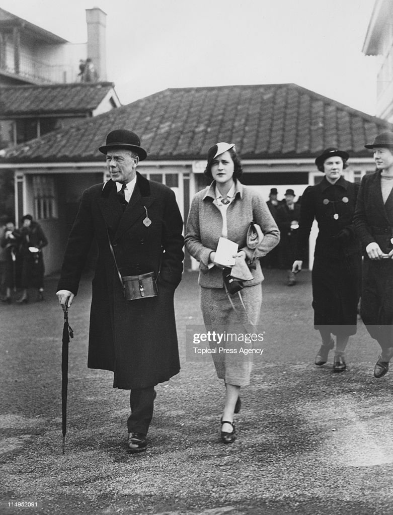 British naval surgeon and courtier Sir Louis Greig with Mrs Marshall Fields at the Cheltenham Hunt Steeplechases Cheltenham Race Course 11th March...